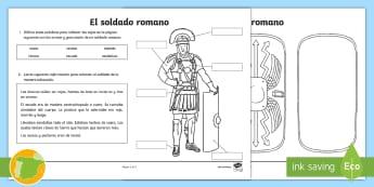 Ficha: El soldado romano - Roman Spain, Ancient Rome, Cuarto Curso Primaria, Social Science, Ciencias Sociales, Historia,Spanis