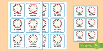 Write the Time O'Clock Cards English/French - Write the Time O'clock Cards - write, time, o'clock, cards, clocks, Timw, EAL, English/French, Fr