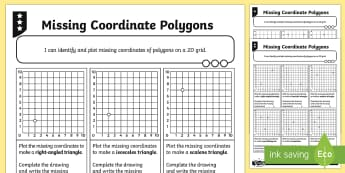 Missing Coordinate Polygons Differentiated Worksheet / Activity Sheets - Position, direction, coordinates