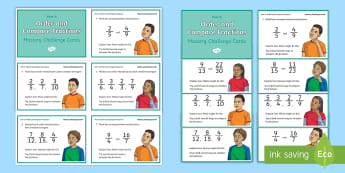 Year 6 Order and Compare Fractions Maths Mastery Challenge Cards - Reasoning, Greater Depth, Abstract, Problem Solving, Explanation