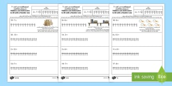 Addition and Subtraction to 20 with a Number Line Activity Sheet Arabic/English