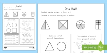 Fractional Halves Activity Sheet - Common Core Math, partitioning shapes, fractions, geometry,