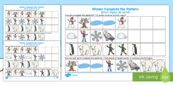 Winter-Themed Complete the Pattern Differentiated Activity Sheets English/Romanian - Winter, Christmas, seasons, pattern, repeating pattern, worksheet, activity sheet, EAL