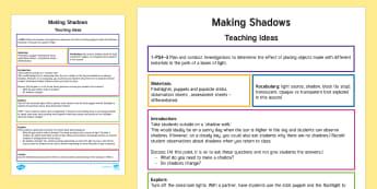 Making Shadows Teaching Ideas - US , light, shadow, science, America