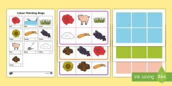 Colour Matching Bingo - resource classroom , activity eal translation, recognition,