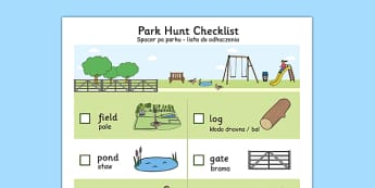 Park Hunt Checklist Polish Translation - park, walk, trip, local area, find, pond, log, bench, slide, vocabulary, Poland, Polish