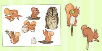 The Tale of Squirrel Nutkin Stick Puppets - squirrel nutkin, stick