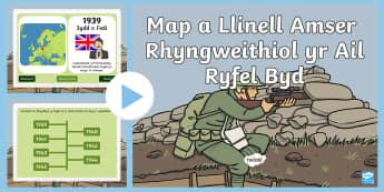 Pŵerbwynt Map a Llinell Amser Rhyngweithiol yr Ail Ryfel Byd PowerPoint - propaganda, ail, ryfe, byd, rhyfel, hanes, slogan, sloganau,Welsh
