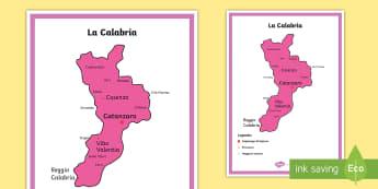 Scuola Primaria: La calabria Cartina Politica - italia, regioni, regionale, geografia, mappa, italiano, italian, materiale, scolastico