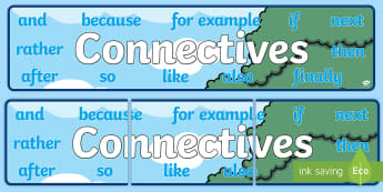 Connectives Banner - new, language, curriculum, primary, connectives, linking words, Irish curriculum