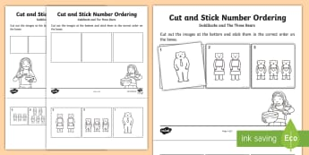 Goldilocks and The Three Bears Themed Cut and Stick Number Ordering Activity Sheets -  - Goldilocks Themed Cut and Stick Number Ordering Sheets - fairy tale, traditional tale themed, cut, s