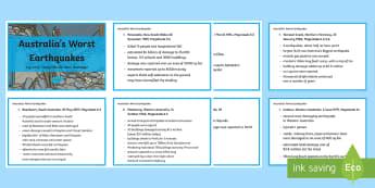 Earthquakes in Australia Fact Cards-Australia - earthquakes, tremors, ACSSU096, geological events, science year 6, science grade 6, Earthquake explo