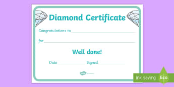 Diamond Certificate - Diamond certificate, certificates, award, well done, reward, medal, rewards, school, general, certif