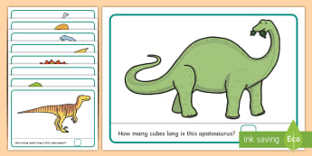 Measuring with Cubes Dinosaur-Themed Activity Mats -  dinosaurs, prehistoric, shapes and measures, length, height, measure, meauring, measuringmatr, unif