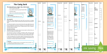 KS2 The Cutty Sark Differentiated Reading Comprehension Activity - history, 19th century, transport, cargo ships, victorians