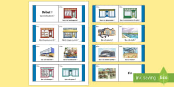 French Buildings Loop Cards - KS2, French, Resources, loop cards, buildings, places, town, shops, magasins, ville