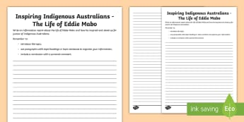 National Reconciliation Week Eddie Mabo Information Report Writing Activity Sheet - Australia English National Reconciliation Week 27 May - 3 June, Year 3, Year 4, Year 5, Year 6, Abor