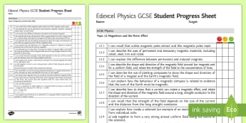 Edexcel Style GCSE Physics, Magnetism and the Motor Effect Progress Sheet - Magnets, solenoid, motors, Fleming's left hand rule, magnetic field