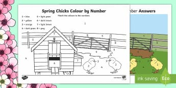 Spring Chicks Colour by Number - Spring, chicks, chickens, seasons, weather, colour by number