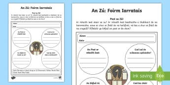The Zoo Aistear Job Application Activity Gaeilge - Aistear, Infants, English Oral Language, Zoo, Irish, Application, Job, Activity Sheet, Irish