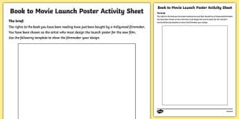 Book to Movie Launch Poster Activity Sheet, worksheet