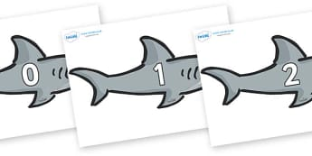 Numbers 0-50 on Sharks - 0-50, foundation stage numeracy, Number recognition, Number flashcards, counting, number frieze, Display numbers, number posters