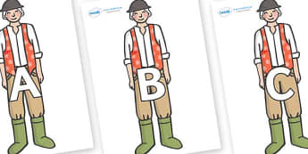 A-Z Alphabet on Farmer to Support Teaching on Pig in the Pond - A-Z, A4, display, Alphabet frieze, Display letters, Letter posters, A-Z letters, Alphabet flashcards