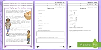 The Perfect Day for Mom Differentiated Comprehension Go Respond Worksheet / Activity Sheets - Mother's Day, mother, mom, mum, mothers day