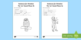 Northern Ireland Linguistic Phonics Stage 5 and 6, Phase 3a and 3b, 'ow' Dictation Sentences Activity - Linguistic Phonics, Stage 5, Stage 6, Phase 3a, Phase 3b, Northern Ireland, sentences, dictation, wo