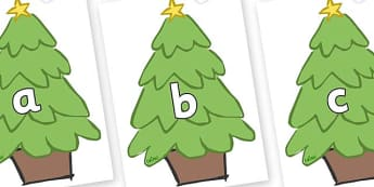 Phase 2 Phonemes on Christmas Trees (Plain) - Phonemes, phoneme, Phase 2, Phase two, Foundation, Literacy, Letters and Sounds, DfES, display
