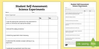 Student Self-Assessment: Science Experiment Activity Sheet - Assessments and Evaluations, science and technology, experiment.