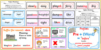 Prefixes Suffixes and Root Words Resource Pack - prefixes, suffixes, root word, resource pack, literacy, english, literacy resource pack, pack of resources
