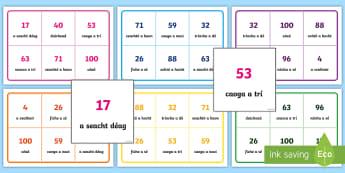 * NEW * 0-100 Bingo Gaeilge - Gaeilge, Bingo, Games, Irish,vocabulary, foclóir, numbers, uimhreacha, counting, ,Irish,Irish