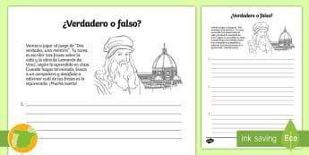 Ficha: Dos verdades, una mentira - Leonardo da Vinci - Renacimiento, Renaissance, inventor, inventions, científico, scientist, quinto curso primaria, 5º