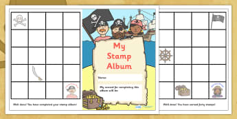 Stamp Reward Album (Pirate Themed) - reward stamp album, pirate themed, reward, stamp, album, stamps, award, chart, stamp album, complete, pirates, theme, pirate, themed