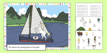 Silly Y Sound Sentences Cut and Stick Pictures - silly y, sentence, cut and stick, pictures