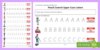 KS1 Me and My Name Capital Letters Pencil Control Worksheet / Activity Sheets - KS1, Me and My Name, handwriting, practise, writing, letters, formation, upper case, capitals, alpha