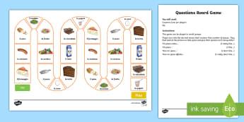 Food Preference Board Game Italian - language, learn, game, italian, italiano, food, cibo, play,Scottish