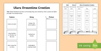 Uluru Dreamtime Matching Differentiated Activity - Aboriginal history, Aboriginal Dreaming, Aboriginal Dreamtime, Aboriginal History, Indigenous Histor