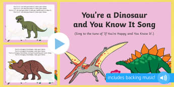 You're a Dinosaur and You Know It Song PowerPoint - Harry and the Bucketful of Dinosaurs, Ian Whybrow, singing, action songs, PowerPoint, dinosaurs