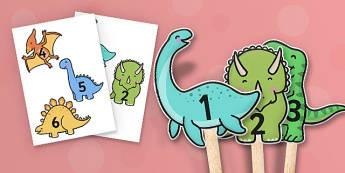 Marionnettes sur bâtonnets : 1 à 10 sur des dinosaures - Mathématiques, nombres, numération, compter, jeu de rôle, cycle 1