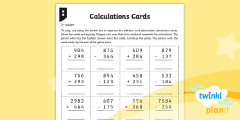 PlanIt Maths Y4 Addition and Subtraction Calculation Cards Home Learning