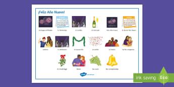 New Year Word Mat Spanish - Celebrations, spelling, reading, vocabulary, illustrations, christmas, Help