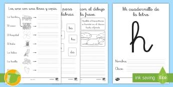 Cuadernillo de lecto: La H - lecto, leer, lectura, sonidos, letra , lecto-escritura, letra h, h, la h,Spanish