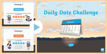 Daily Date Numeracy Challenge PowerPoint - Back to school resources, Numeracy, Daily Date Challenge, Welsh.,Welsh