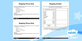 French: Let's Go Shopping Year 6 Home Learning Tasks