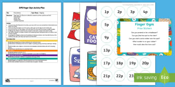EYFS Shop-Themed Price Stickers Finger Gym Plan and Resource Pack - shopping, supermarket, funky fingers, fine motor, stickers
