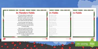 In Flanders Fields Handwriting Practice Activity Sheets - Australian Requests, In Flanders Fields, flanders, flander's, Handwriting Practice, worksheets, fla