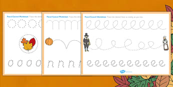 Thanksgiving Pencil Control Worksheets - worksheet, pencils