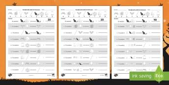 Descifrează codul de Halloween Pachet cu activități - matematică, descompuneri, zeci și unități, exerciții, fișe, fișă de matematică,Romanian